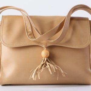 ESCADA Snake Tassels Leather Flap Shoulder Bag